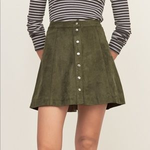 Abercrombie and Fitch Green Suede Snap Mini Skirt